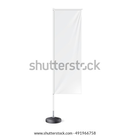 Outdoor Panel Flag With Ground Fillable Water Base, Stander Banner Shield. Mock Up, Template. Illustration Isolated On White Background. Ready For Your Design. Product Advertising. Vector.