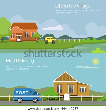Outdoor side view on village house in countryside with bushes and lake, trees and car or jeep, sun and cloud, fence or palisade, mail delivery automobile