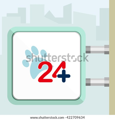 Outdoor signboard of twenty four hours available veterinary help. Flat trendy modern vector illustration. - stock vector