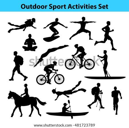 outdoor sport activities male silhouette man stock vector 481723789 shutterstock. Black Bedroom Furniture Sets. Home Design Ideas