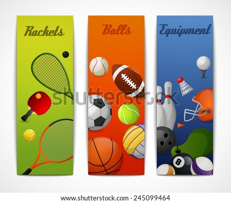 Outdoor sport activities squash tennis soccer basketball rugby accessories flat vertical banners set abstract isolated vector illustration - stock vector