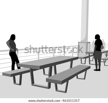 Outdoor table vector silhouette people relaxing time scene background