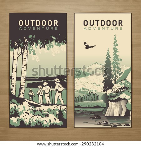 Outdoor thematic vector card design with traveling people and great wild landscapes graphics.Brochure,flyer,booklet,postcard template for product promotion and advertising isolated on wood background - stock vector