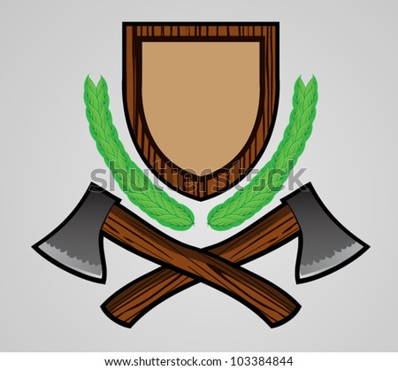 Outdoor Themed Emblem with Axe - stock vector