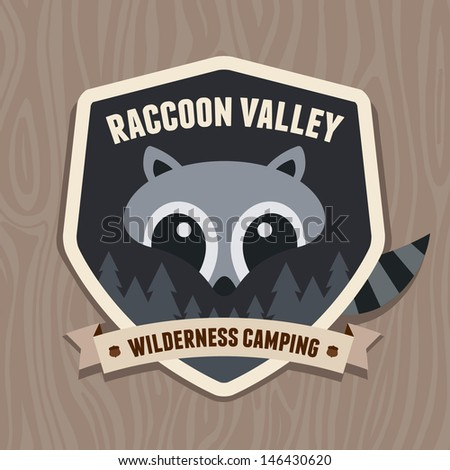Outdoors emblem badge with raccoon character logo design - stock vector