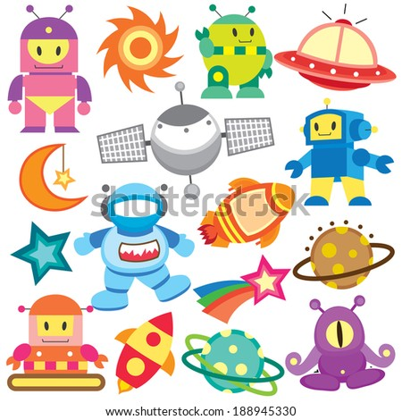 outer space and robot clip art set - stock vector