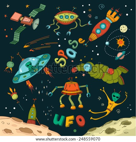 Seamless pattern funny cartoon spaceships stock vector for Outer space design richmond