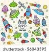 Outer Space Doodle notebook Elements Vector Illustration Set - stock photo
