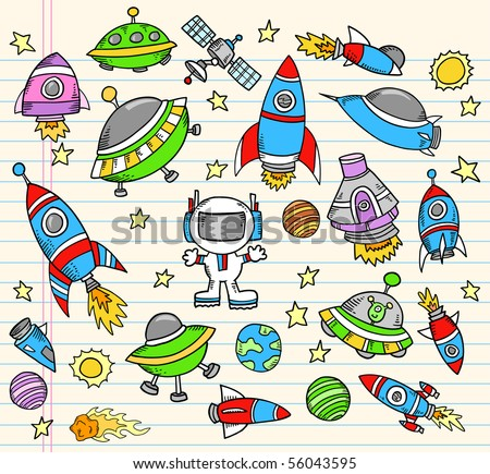 Outer Space Doodle notebook Elements Vector Illustration Set - stock vector