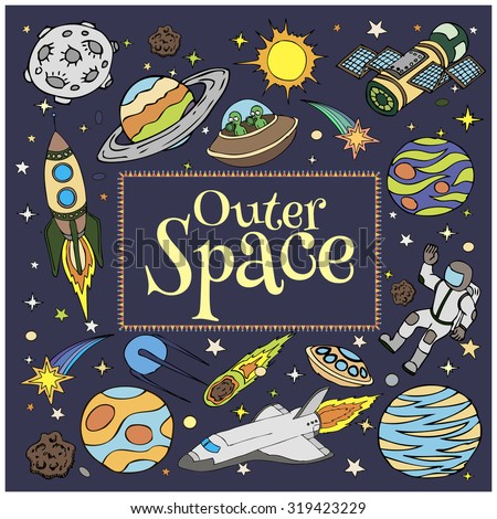 Outer space doodles symbols design elements stock vector for Outer space elements