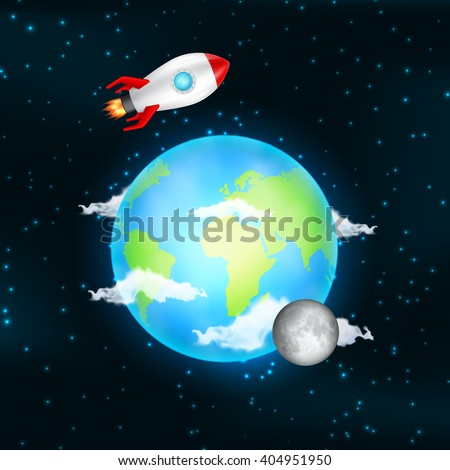 Outer space. Earth and moon with spacecraft. Elements of this image are furnished by NASA. EPS10 vector - stock vector