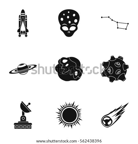 Outer Space Icons Set Simple Illustration Stock Vector Royalty Free