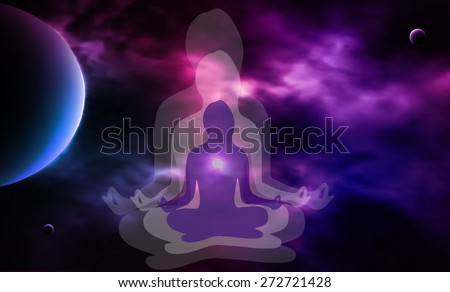 Outer space. Meditation. Woman silhouette. Vector illustration - stock vector