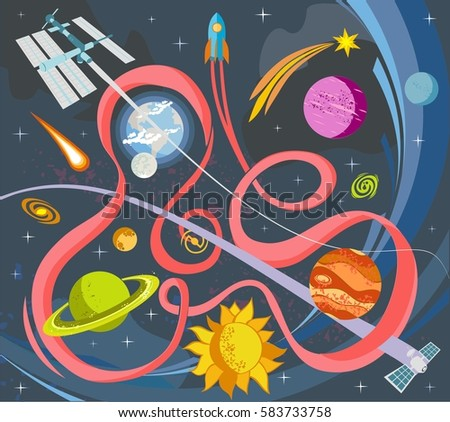 Solar system fruits on spacegalaxy background stock vector for Outer space stage design