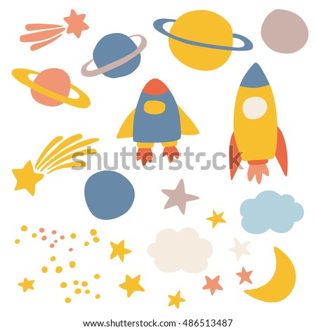 Outer space, vector illustrations for kids