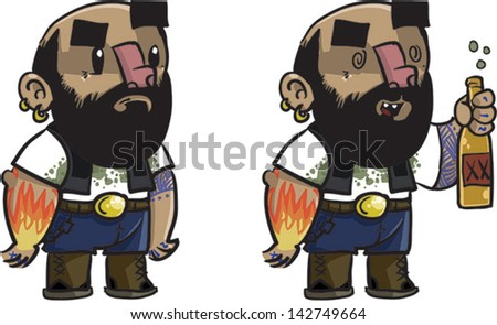 Outlaw Biker with tattoo -  Vector clip art illustration on white background - stock vector