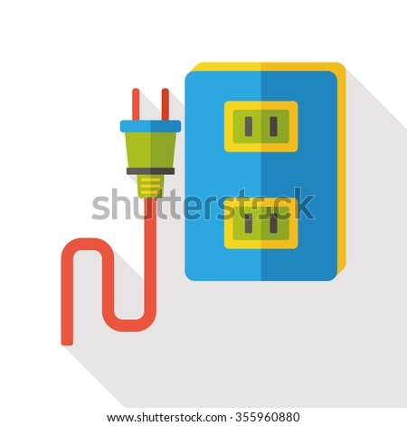 outlet socket flat icon - stock vector