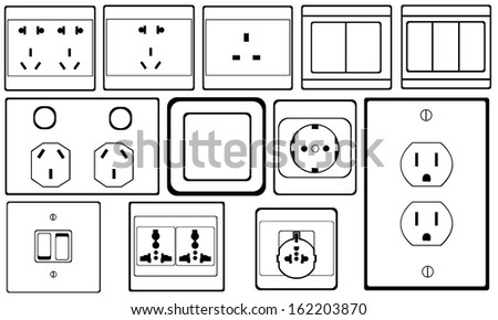 outlets and switches set - stock vector
