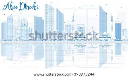 Outline Abu Dhabi City Skyline with Blue Buildings and Reflections. Vector Illustration. Business Travel and Tourism Concept�with Modern Buildings. Image for Presentation, Banner, Placard and Web. - stock vector