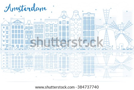 Outline Amsterdam skyline with blue buildings and reflections. Vector illustration. Business travel and tourism concept with place for text. Image for presentation, banner, placard and web site. - stock vector