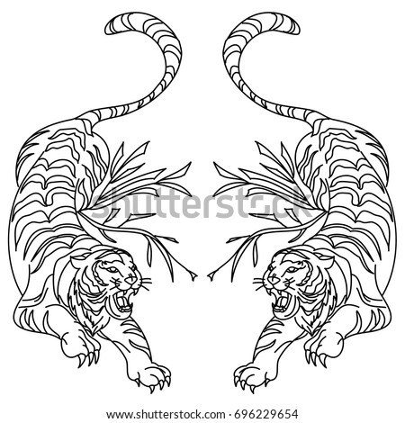 outline and doodle art tiger vector is on white backgrounddrawing tiger for tattoo