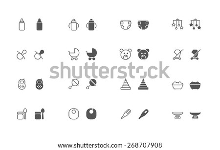 Outline and filled simple vector icons of baby goods. Flat style, snapped to pixel shapes, fully scalable - stock vector