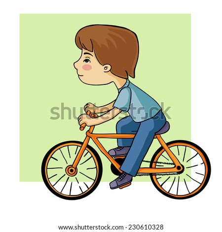 outline animation cyclist vector drawing - stock vector