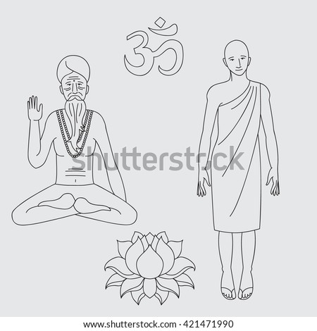 Outline asian buddist and hinduism monks, meditating sadhu. Om sign, lotus flower. Isolated icons. Vintage buddhism and hinduism decorative elements vector - stock vector