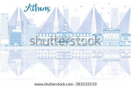 Outline Athens skyline with blue buildings and reflections. Vector illustration. Business travel and tourism concept with place for text. Image for presentation, banner, placard and web site. - stock vector