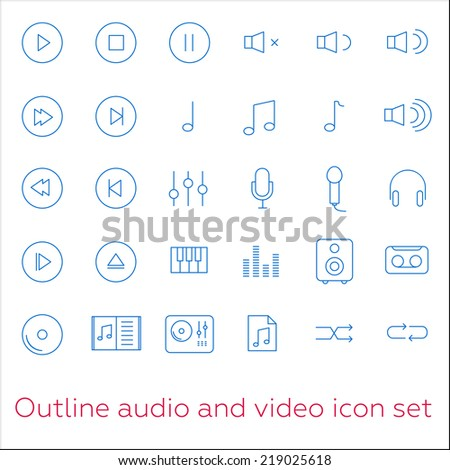 Outline audio and video icon set with piano, headphones and note - stock vector