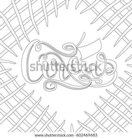 Outline Background Lettering Circus Coloring Book Stock Vector ...