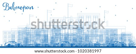 Outline Belmopan City Skyline with Blue Buildings. Vector Illustration. Business Travel and Tourism Concept with Modern Architecture. Belmopan Cityscape with Landmarks.
