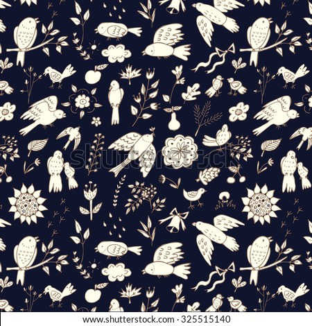 Outline bird floral pattern - stock vector