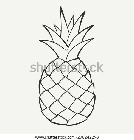 Outline black and white image of a pineapple. Vector Graphics.