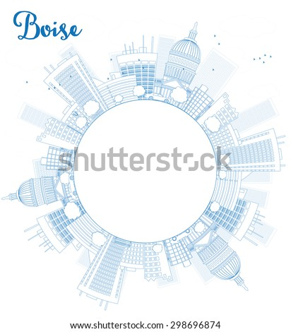 Outline Boise Skyline with Blue Building and copy space. Vector Illustration. Business travel and tourism concept with place for text. Image for presentation, banner, placard and web site. - stock vector