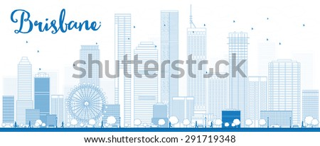 Outline Brisbane skyline with blue building. Vector illustration. Business travel and tourism concept with modern buildings. Image for presentation, banner, placard and web site. - stock vector