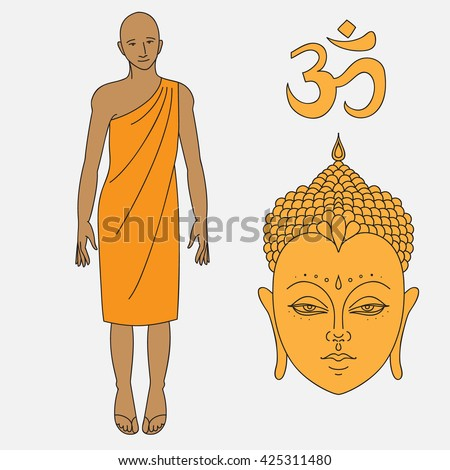 Outline buddhist monk, Head of Buddha. Om sign. Isolated icons of Mudra. Beautiful detailed, serene. Vintage decorative elements. Indian, Hindu motifs. Outline buddhist monk  - stock vector