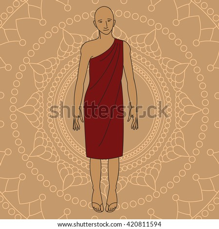 Outline Buddhist monk. Isolated icons vintage decorative elements. Indian, Hindu religion motifs design vector - stock vector