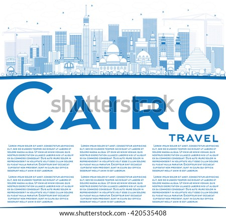 Outline Cairo Skyline with Blue Buildings and Copy Space. Vector Illustration. Business Travel and Tourism Concept with Historic Buildings. Image for Presentation Banner Placard and Web Site. - stock vector