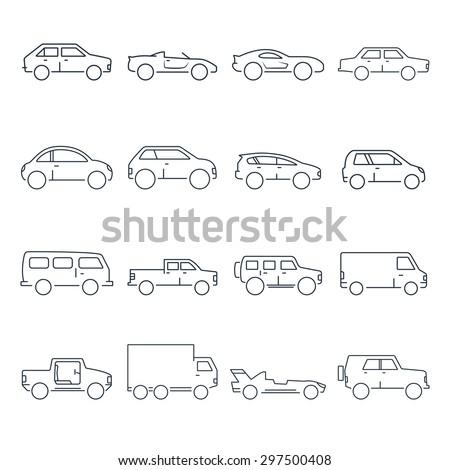 Outline car collection icon - stock vector