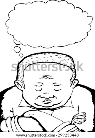 Outline cartoon of heavyset African man with folded arms - stock vector