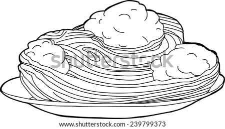 outline cartoon of meatballs and spaghetti in plate