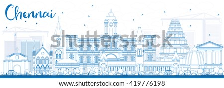 Outline Chennai Skyline with Blue Landmarks. Vector Illustration. Business Travel and Tourism Concept with Historic Buildings. Image for Presentation Banner Placard and Web Site.  - stock vector