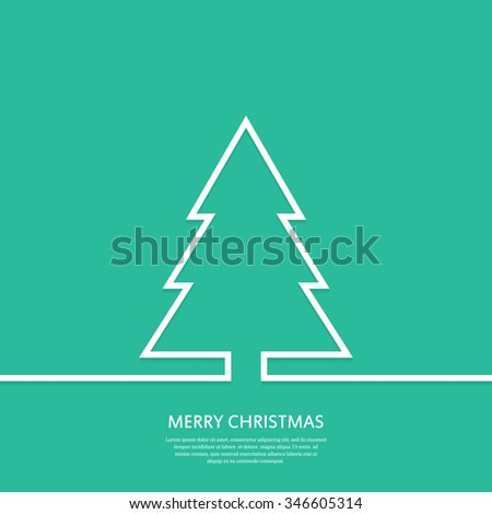 Outline Christmas tree. Christmas card.  Minimal Christmas abstract background. Vector illustration. - stock vector