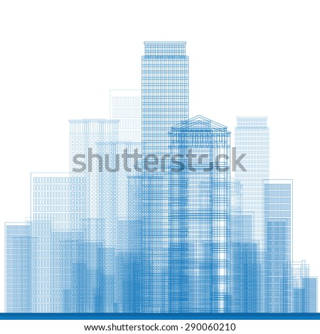 Outline City Skyscrapers in blue color. Vector illustration. Business or tourism concept for presentation, placard, banner or web site - stock vector