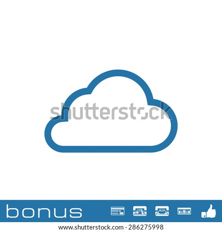 outline cloud icon - stock vector