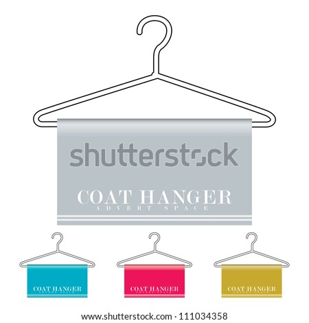 Outline coat hanger with material drapped over and copy space - stock vector