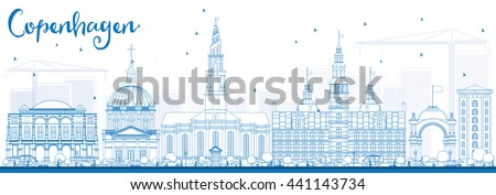Outline Copenhagen Skyline with Blue Landmarks. Vector Illustration. Business Travel and Tourism Concept with Historic Buildings. Image for Presentation Banner Placard and Web Site. - stock vector