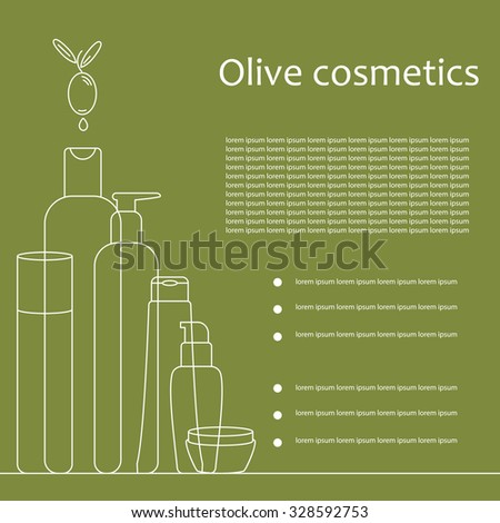Outline cosmetic tubes on green background. Olive cosmetics