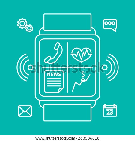 Outline design style modern vector illustration concept of smart watch gadget, personal digital device with mobile apps like phone calls, sms texting, music media player, calendar and time management. - stock vector
